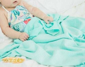 Dreamy Aqua Baby Blanket, Swaddle Blanket, Newborn Swaddle, Receiving Blanket, Baby Shower Gift, Whimsical Nursery, High Quality, Liv & Co.™