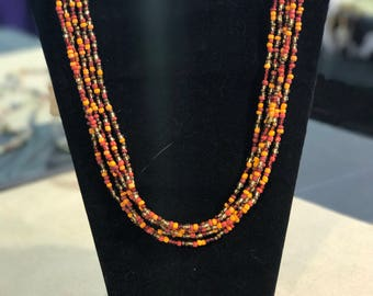 Multi Fall Glass Seed Bead Necklace