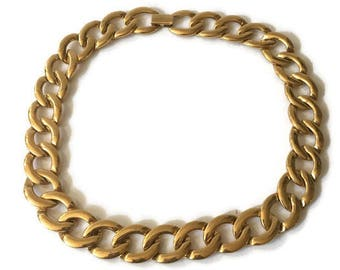 "Vintage Large Chain Napier Necklace, Chunky Gold Tone Napier Necklace 16"" x .60"""