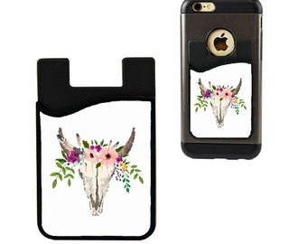Cell Phone Caddy/Cell Phone Case/Floral Skull Credit Card Holder/ Card Holder/Cell Phone Pocket/Student ID Holder/Floral Skull Card Holder