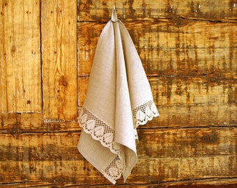 Linen flax kitchen towels handmade Linen flax tea towels with grey floral lace Linen hand towels Linen dish towel Burlap linen flax towel