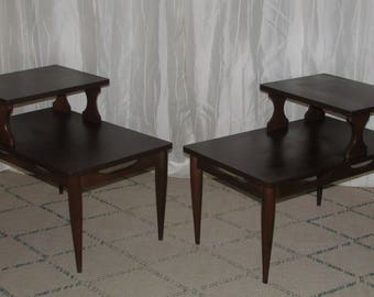 Pair Of Mid Century Modern Tiered 2 Tier Step Back Walnut Wood End Tables  With Formica