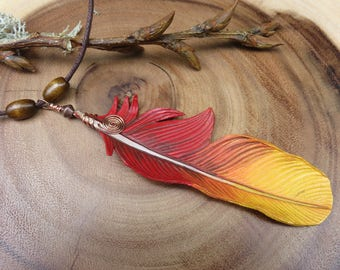 PHOENIX Feather Leather Necklace - Fantasy Mythical Jewellery - with copper wire