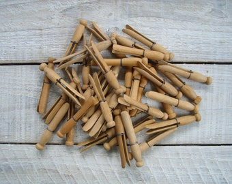 35 Vintage Wooden Clothespins ~ Wire Bound Round Wood Peg Clothes Pin Variety ~ Rustic Antique Farmhouse Laundry Room Decor (S5)