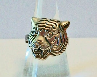 Unique School Spirit Aged Silver Tiger Head  Fashion Ring Adjustable Band