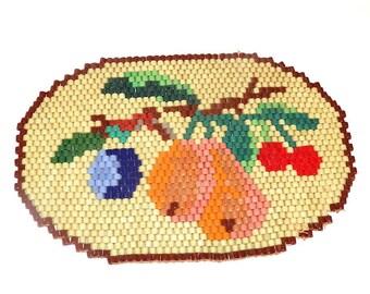Colourful Vintage Barrel Glass Beaded Trivet Tile with Fruit Hot Pad