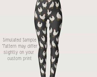 Chicken Leggings, Custom Printed, Yoga Pants, Full Length, farm, country, coop, farmer, farming, homestead, Rooster, Hens - XS-XL- Chicken 7