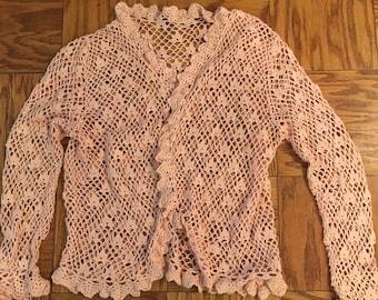 Women's Pink Crochet Sweater