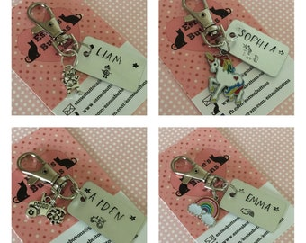Childrens bag tags, hand stamped, bag charm, gift for her, gift for him, made in Norfolk, UK seller,