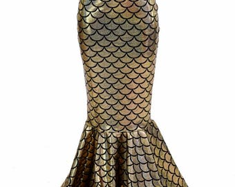 Girls Mermaid Skirt in Gold Dragon Scale Full Length, High Waist, Sizes 2T 3T 4T and 5-12