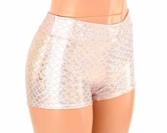 Midrise Silver on Pink Mermaid Scale Booty Shorts Rave Festival Clubwear - 155011