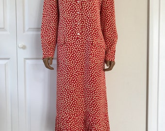 Adele Simpson Silk Polka Dot Sheath Dress Red Size 10 Saks Fifth Ave