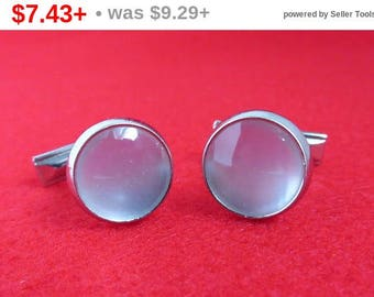 ON SALE! White Moonstone Cufflinks Vintage Silver Tone Round Cabochon Cuff Links Men's Formal Wear Suit Accessory Gift Idea