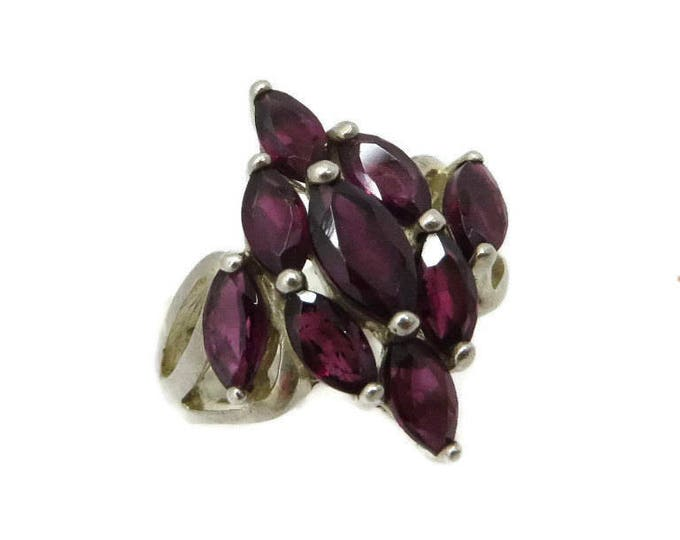 Sterling 925 Faux Garnet Ring - Vintage Multi Stone Statement Ring, Size 5