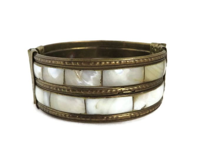 Vintage MOP Bangle, Brass Tone, Mother of Pearl Inlay Bracelet, Boho Bangle Hippie Jewelry
