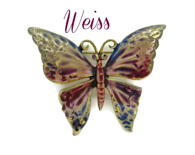 WEISS Butterfly Brooch, Vintage Multicolor Enameled Gold Tone Butterfly Pin Designer Signed Gift Idea