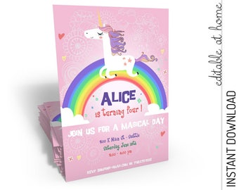 Unicorn Birthday Invitation, Unicorn Invitation, Unicorn Party Invitation INSTANT DOWNLOAD you personalize at home