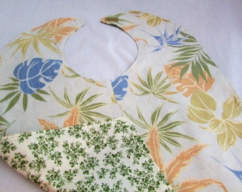 Reversible Adult Bib - Handmade - Tropical Leaf Print