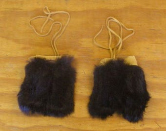 2 Black Rabbit Fur & Gold Color Deer Leather Bags