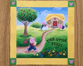 """This Little Piggy Went to Market""""-  a print 12""""x12"""" from my new nursery rhyme collections!"""