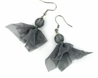 Upcycled jewellery. Recycled tulle earrings. Grey tulle earrings VIENNA