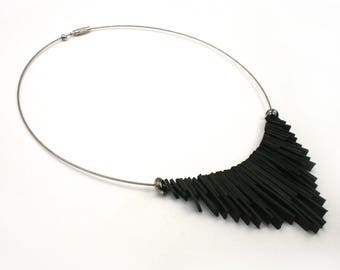 Upcycled bike jewellery. Black ethnic necklace made from recycled bicycle inner tube TUNIS. Gift for cyclists.