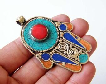 Hamsa Pendant, Ethnic Pendant, Protection Amulet, Ancient Symbol Hamsa Charm Tribal Pendant, Hamsa Jewelry, Good Luck Charm SH-5408