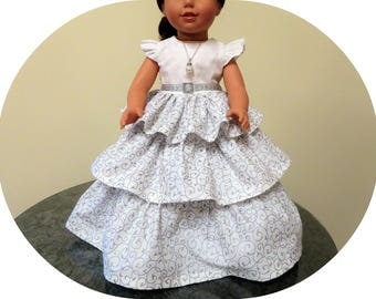 "American Made Girl Doll Dress with Petticoat/FREE SHIPPING/White Silver AG doll Outfit/18"" clothes/Ruffle Dress/Pearl Necklace/Accessories"