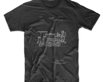 Steam Locomotive 1886 Patent T Shirt, Gilded Age, Steam Train, Boys Room Decor, Train Room Decor, Train Shirt, PP0122