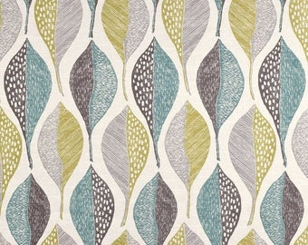 Aqua Blue and Grey Modern Upholstery Fabric - Large Scale Leaf Fabric - Grey Yellow Floral Fabric - Modern Grey Blue Leaf Fabric by the yar