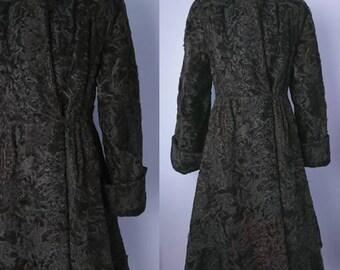 40's Fit and Flare Astrakhan Fur Vintage Coat