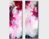 Paar oorspronkelijke XXL abstract schilderij, originele abstracte kunst, 2 delen lang acryl artwork, grote schilderij, fuchsia roze magenta witte kunst