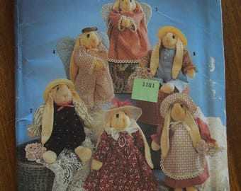 """Simplicity 7421, approx. 10"""" tall bunnies, sock bunny and clothes, UNCUT sewing pattern, craft supplies"""