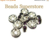 SALE 6 mm Amethyst Silver-Plated Brass Crystal Rhinestone Rondelle - Grade AAA - Nickel Free and Lead Free - 20 pcs
