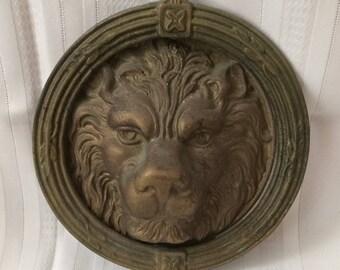 Antique Brass Lion Head Door Knocker Vintage Lions Head Door Knocker Large Lion Door Knocker