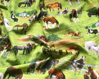 Elizabeth's Studio 'Discounted' Farm Horses 339 Green Patchwork Quilting Fabric