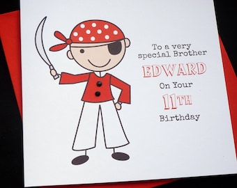 Personalised Pirate Birthday Card - son grandson nephew 3rd 4th 5th 6th 7th 8th 9th 10th any wording name or age