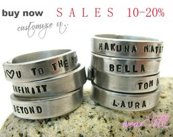 Customized / Personalized Adjustable Ring.. Stack rings.. Stacking rings.. Aluminum ring.. hand stamped ring.. Best Gift.. Couples Ring