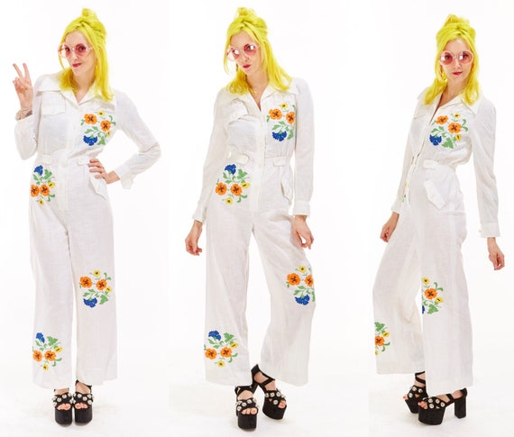 Vtg 70s JUMPSUIT Maxi Leisuresuit One Piece Onesie Disco FLORAL EMBROIDERED Hippie Boho Pin Up Festival Ethnic folk art Mexican bell bottoms