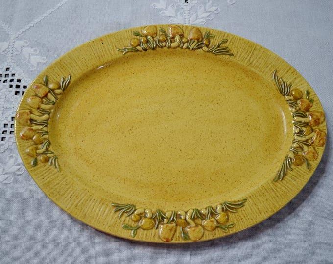 Vintage Oval Platter Mushroom Design Gold Ceramic Retro Kitchenware Entertaining Party Ware Panchosporch