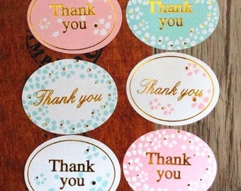 """Oval """"Thank You"""" Stickers with Flower Border and Gold Lettering/Thank You Labels/Wedding Labels/Seal"""