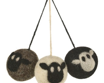 Sheep Baubles (bag of 3) - Felt animals - Needle felted - Easter decorations - Baby shower - Ethical-Handmade