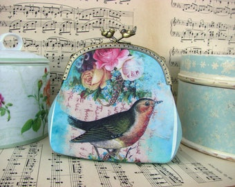 Vintage cosmetic bag with birdand flowers, kiss lock purse with birds