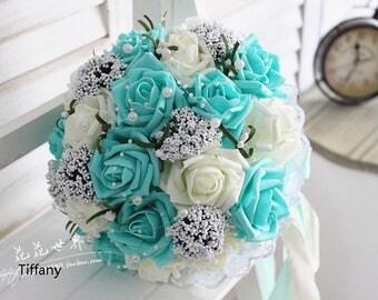 Tiffany White Wedding Bouquet Turquoise Flowers Bridal Centerpieces DecorationsSilk