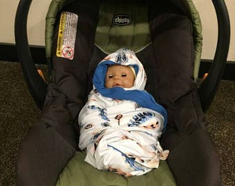 Feather and blue Custom Made Carseat Swaddler