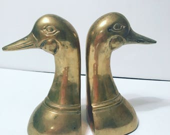 Great pair of vintage brass duck bookends