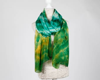 Oversized green summer scarf / green and yellow silk scarf / green summer silk shawl / large yellow and green silk pareo