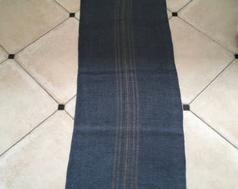 DNS44 Grey Blue Dyed Vintage Linen Grain Sack with Taupe Stripe Upholstery Fabric Flour Sack for Sewing Projects Bath Mat Pillow Cover