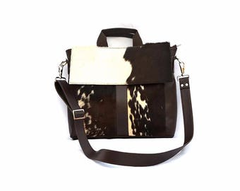Western Cowhide 15'' Computer Business Briefcase Shoulder Laptop Bag -03
