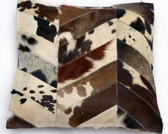 Natural Cowhide Luxurious Patchwork Hairon Cushion/pillow Cover (15''x 15'')a276